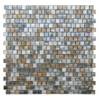Opal Grey and Gold Glass Mosaic Tiles (Pack of 10)