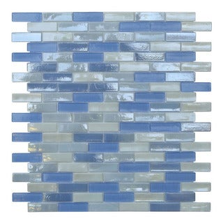 Opal Blue and White Glass Mosaic Tiles (Pack of 10)