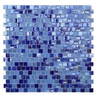 Opal Blue Glass Mosaic Tile (Pack of 10)