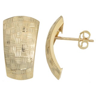 Fremada Italian 14k Yellow Gold Diamond-cut Weaved Design Half Hoop Earrings