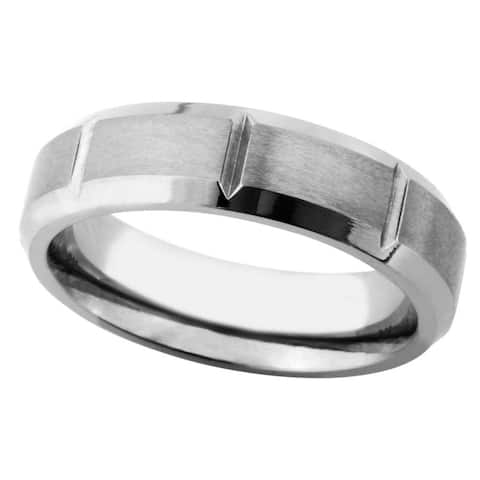Men's Satin and Polished Titanium Band - Silver