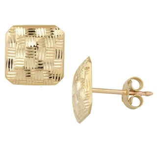 Fremada Italian 14k Yellow Gold Diamond-cut Weaved Design Square Post Earrings