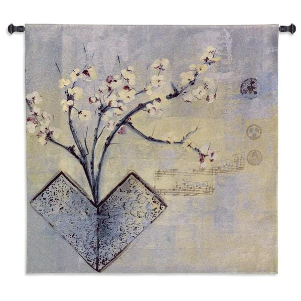 Fine Art Tapestries Blue Cotton Zen Flower Wall Tapestry