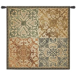 Fine Art Tapestries Cotton Elegance Large Wall Tapestry WIth Wrought Iron Rod