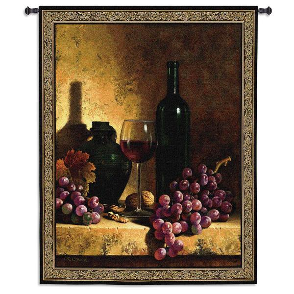 Shop Wine Bottle With Grapes And Walnuts Large Wall