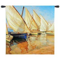 Fine Art Tapestries 'White Sails I' Multicolor Cotton Medium-size Wall Tapestry