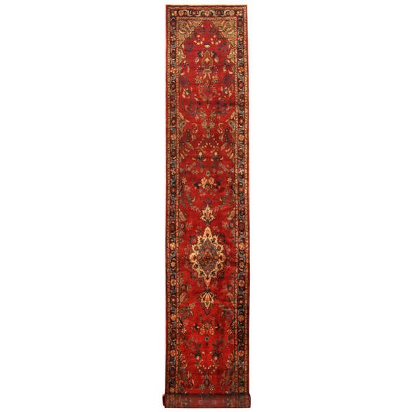 Herat Oriental Persian Hand-knotted Tribal Hamadan Wool Runner (2'10 x 17'2)