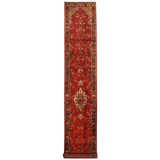 Herat Oriental Persian Hand-knotted Tribal Hamadan Wool Runner (2'10 x 17'2)