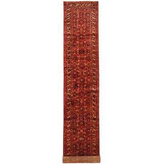 Herat Oriental Persian Hand-knotted Tribal Hamadan Wool Runner (3'1 x 20'9)