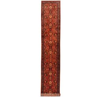 Herat Oriental Persian Hand-knotted Tribal Hamadan Wool Runner (2'7 x 16'2)