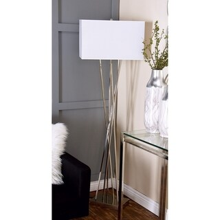 Modern 64 Inch Metal and Fabric Criss Cross Floor Lamp by Studio 350