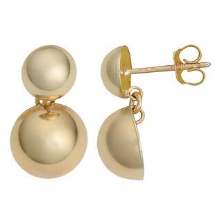 Fremada Italian 14k Yellow Gold High Polish Dome Drop Earrings