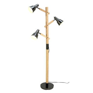 Benzara Black and Brown Wood and Metal Floor Lamp