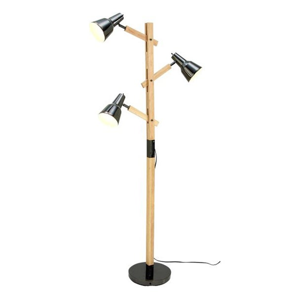 Benzara Black and Brown Wood and Metal Floor Lamp