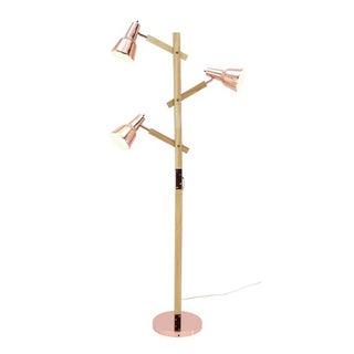 Benzara Polished Copper Metal and Wood Floor Lamp