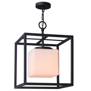 Woodbridge Lighting 16212MEB Jasper Steel Frame and Opal Glass Cube Bronze Finish 1-light Pendant