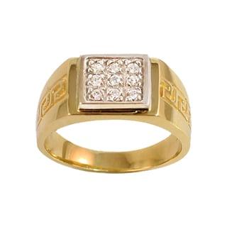 Regalia 14k White or Yellow Gold Men's 1/5ct TDW Diamond Pave Greek Key Ring, Size 10