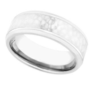 Men's Textured Titanium Band - Silver