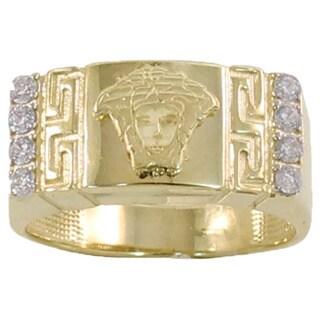 Regalia 14k White or Yellow Gold Men's 1/4ct TDW Diamond Greek Key Ring, Size 10