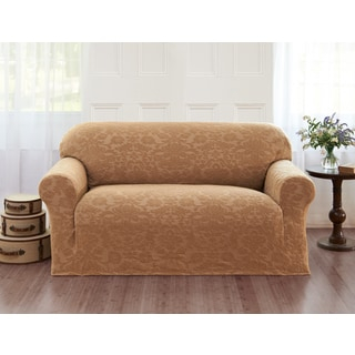 Velvet Damask Loveseat Slipcover