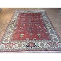 Serapi Heriz Oriental Red Wool Hand-knotted Rug (9' x 11'11)