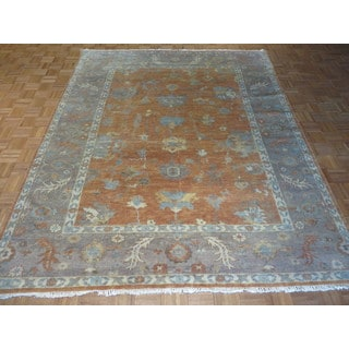 Oushak Oriental Salmon/Blue/Pink/Gold Wool Hand-knotted Area Rug (8 x 9'11)