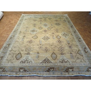 Oriental Beige Fine Turkish Oushak with 100% Wool Hand-knotted Rug (8'11 x 11'10)