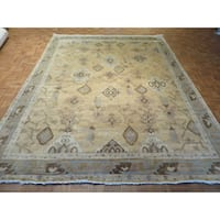Oriental Beige Fine Turkish Oushak with 100% Wool Hand-knotted Rug - 8'11 x 11'10