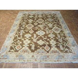 Oriental Brown Wool Oushak Hand-knotted Rug (8' x 9'10)