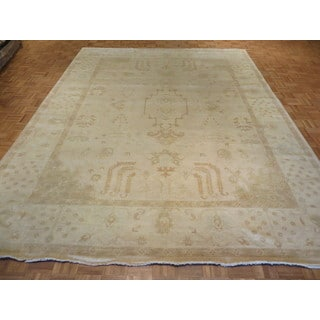 Hand-knotted Turkish Oushak Oriental Beige Wool Rug (9'4 x 11'11)