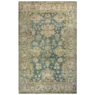 Rizzy Home Aquarius Blue/Khaki Wool Hand-knotted Accent Rug (2'6 x 8')