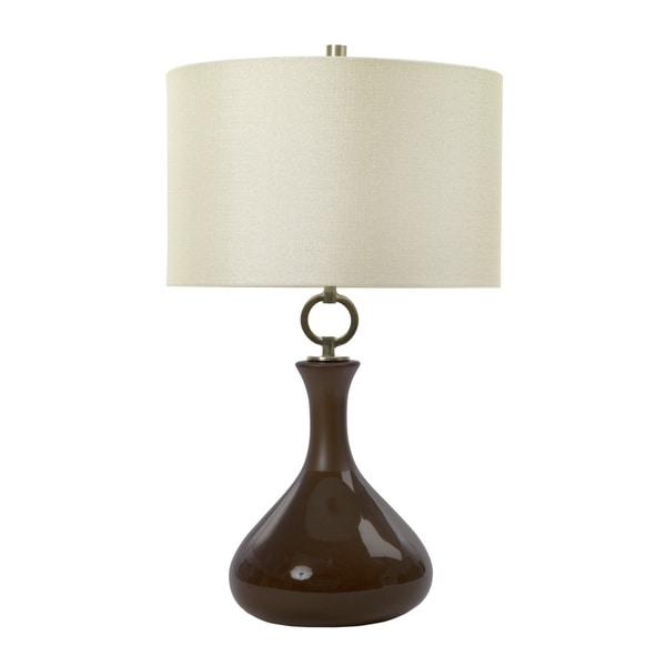 27 inch Ceramic Table Lamp with Matte & Gloss Dark Roast