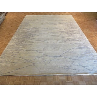 Oriental Ivory/Blue/Grey Silk-blend Hand-knotted Rug (10'3 x 13'11)
