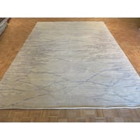 Oriental Ivory/Blue/Grey Silk-blend Hand-knotted Rug - 10'3 x 13'11
