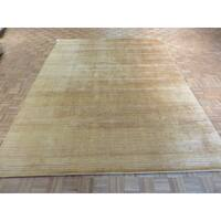 Hand Knotted Gold  with Bamboo Silk Oriental Rug (8'10 x 11'9)