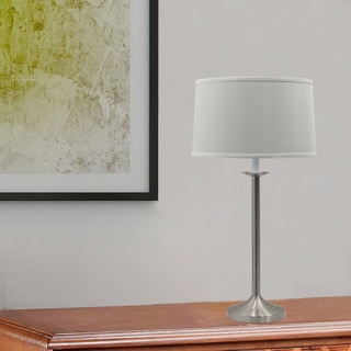 28 in. Brushed Steel Traditional Candlestick Styled Table Lamp