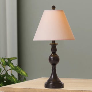 25 inch Painted Bronze Metal Table Lamp with Two Convenience Outlets