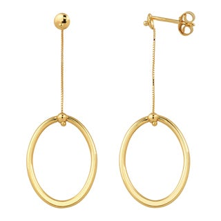 Fremada Italian 14k Yellow Gold High Polish Oval Drop Earrings