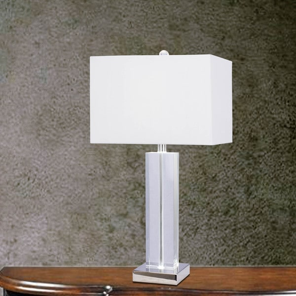 27 inch Clear Crystal & Polished Nickel Metal Table Lamp w/LED Nightlight