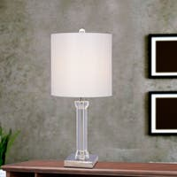 25.5 inch Clear Crystal & Polished Nickel Metal Table Lamp w/LED Nightlight