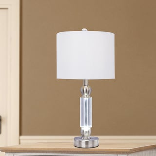 23.75 inch Clear Crystal & Brushed Steel Metal Table Lamp w/LED Nightlight
