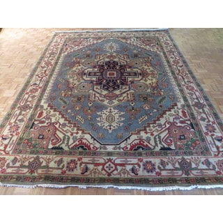 Serapi Heriz Light Blue/Multicolor Wool Hand-knotted Oriental Rug (9 x 11'10)