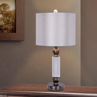 23.75 inch Clear Crystal & Black Chrome Metal Table Lamp w/LED Nightlight