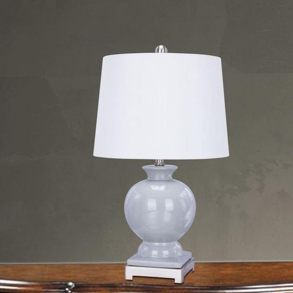 24 inch Grey Ceramic & Brushed Steel Metal Table Lamp