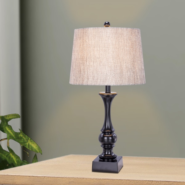 28 inch Resin Table Lamp In Glossy Black Finish