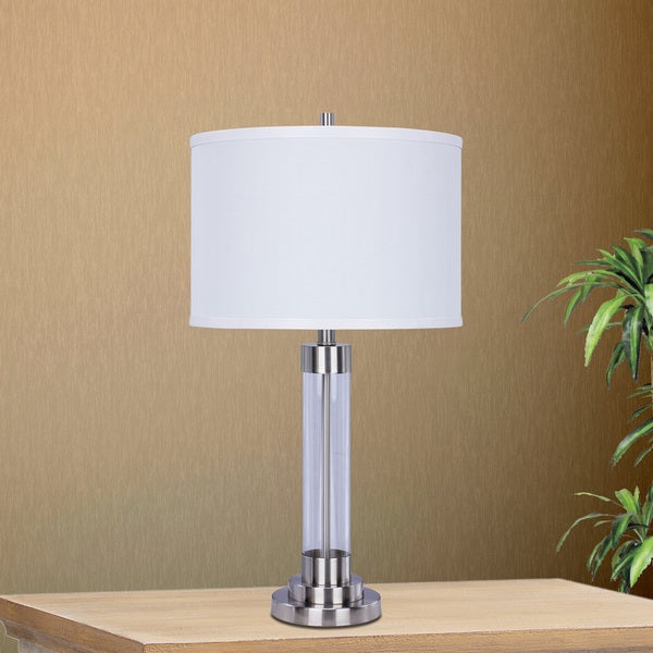 5129BS 28 inch Brushed Steel Metal & Clear Glass Table Lamp