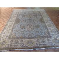 Oushak Oriental Ivory/Blue/Gold/Brown Wool Hand-knotted Rug (9'4 x 11'9) - 9'4 x 11'9