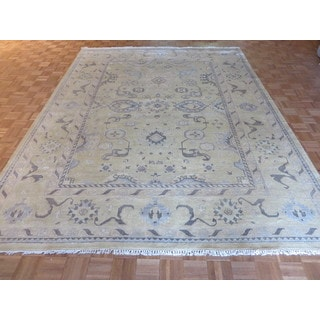 Oushak Gold/Multicolor Wool Hand-knotted Oriental Rug (9'1 x 11'11)