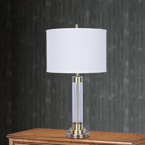 5129AB 28 inch Antique Brass Metal & Clear Glass Table Lamp
