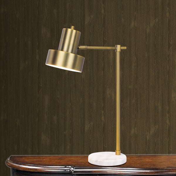 1526 24 inch Marble & Antique Brass Metal Table Lamp